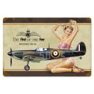 Placa de metal vintage Spitfire Pinup