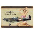 Placa Metálica Pinup Spitfire vintage